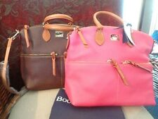 Dooney & Bourke Handbag, Dillen II Double Pocket Satchel 4P224 Pink & Brown