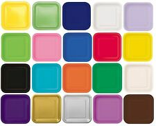 "14 x 9"" SQUARE Paper PLATES (22cm) Plain Solid Colours Birthday Party Tableware)"