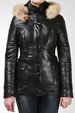 Black Hooded Fur Ladies Retro Real Lambskin Nappa Leather Duffle Jacket Coat