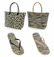LADIES GIRLS ANIMAL LEOPARD FLIP FLOPS SANDALS or MATCHING BAG SIZES 3/4 5/6 7/8