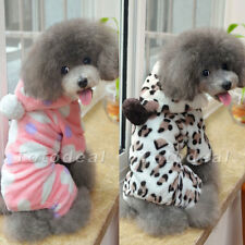 Soft Warm Pet Dog Clothes Apparel Hoodie Hooded Leopard Print Coat for Winter