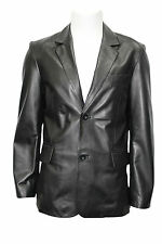 CLASSIC BLAZER TR4080 Men's BLACK Tailored Soft Real Nappa Leather Jacket Coat