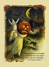 Halloween Witch Black Cat Bat Ghost Goblins Scary Vintage Poster Repro FREE S/H