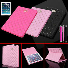 Luxury Crown Leather Smart Case Stand Cover for Apple iPad air 2 6th &Stylus Pen