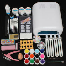 Pro Acrylic Manicure Nail Art Kit Set Gel Polish Curing Dryer Light 36W UV Lamp
