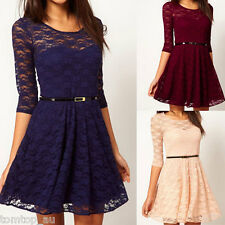 Women Spoon Neck 3/4 Sleeve Mini Dress Floral Lace Sakter Cocktail Party Sexy