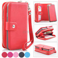 Zipper Premium Leather Wristlet Cash Clutch Bag Wallet Case For iPhone & Samsung