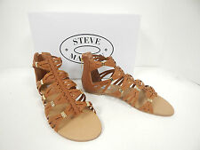 New Steve Madden Cretee Cognac Strappy Gladiator Sandals With Back Zipper