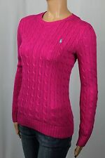 Ralph Lauren Sport Pink Cable Knit Crewneck Sweater Teal Pony NWT
