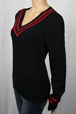 Ralph Lauren Active Black Red Cable Knit V-Neck Sweater NWT