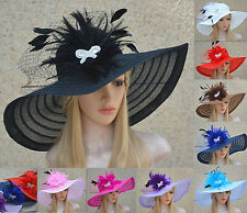 Womens Dress Church Kentucky Derby Wide Brim Feather Wedding Veil Sun Hat A265