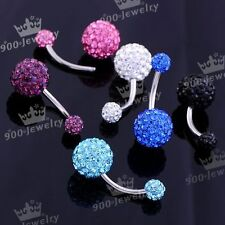 Stainless Steel Cz Crystal Disco Ball Bar Belly Navel Ring Body Piercing 14Ga