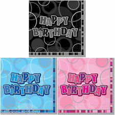 16 Pink Blue Black Happy Birthday Glitz Party Paper 33cm Napkins