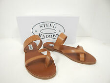 NEW STEVE MADDEN AINTSO COGNAC LEATHER FLAT TOE THONG SLIDE SANDALS