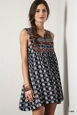 B5430 Umgee Navy Country Bohemian Ethnic Cotton Poly Tunic Shift Dress S M L