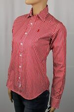 Ralph Lauren Sport Red Striped Classic Fit Blouse Shirt Spread Collar NWT