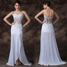 White Designer Beaded Bridesmaid Evening Prom Formal Gown Party Vintage Dresses