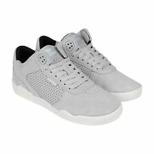 Supra Ellington Mens Gray Suede & Leather Lace Up Sneakers Shoes