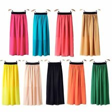 New Women Double Layer Chiffon pleated Retro Long Elastic Waist Maxi Dress Skirt