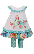 Bonnie Jean Girls White Aqua Butterfly Summer Dress Leggings Outfit 12M 18M 24M