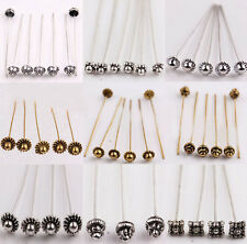 20/100Pcs Silver Gold Plated Metal Crown/Ball/Head Pins Jewelry Finding DIY 50mm