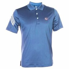 adidas Kansas Jayhawks Royal Blue 3-Stripe Performance Polo