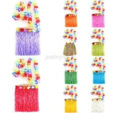 Hawaiian Luau Party Grass Skirt Garland Headband Wristband 5pcs Hula Costume J78