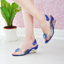 C6 US Womens Summer Sandals High Heels Peep Toes Shoes Fashion Transparent