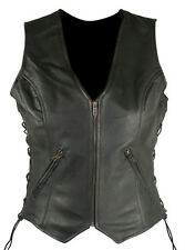 WOMEN'S ZIP FRONT SIDE LACED BLACK LEATHER MOTORCYCLE VEST