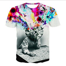 2015 New Fashion Womens/ Mens The Thinker 3D print Cool short sleeve T-shirt
