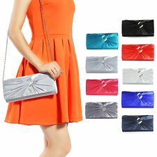 Ladies Satin Diamante Pleated Bridal Clutch Bag Ladies Evening Bag Handbag