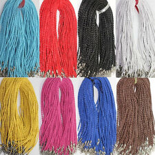 Lots10Pcs Leather Braid Rope Hemp Cord Lobster Clasp Chain Necklace Finding 46cm
