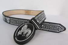 Men Western Fashion Leather Charro Belt Black Rooster Cock Fight Buckle 34 36 38
