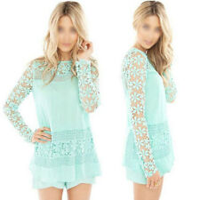 Womens Embroidery Lace Crochet Tee Long Sleeve Casual Chiffon Shirt Blouse Tops