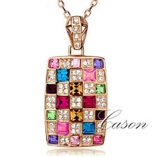 Women Colorful Austrian Crystal Chain Pendant Fashion 18K Gold Plated Necklace