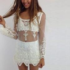 Sexy Women Sheer Sleeve Lace Crochet Embroidery Shirt Tops Blouse Pullover A14