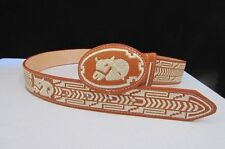 B New Men Western Fashion Leather Belt Brown Rodeo Big Horse Head Oval Buckle 36
