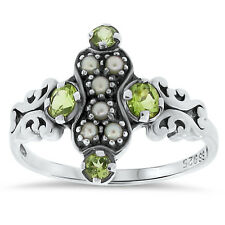 GENUINE PERIDOT AND PEARL ANTIQUE VICTORIAN STYLE .925 SILVER RING,   #79