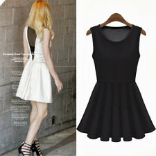See-through V-shaped Back Patchwork Women's Clothing Tunic Pleated Mini Dress
