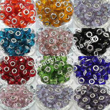 5Pcs Glass Murano Big Hole Lampwork Loose Spacer Beads Finding Bracelet 14x10mm