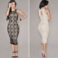 Elegant Women Sexy Lace Sleeveless Bodycon Slim Evening Party Cocktail Dress New