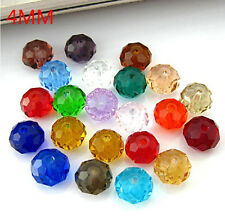 Wholesale 100pcs Faceted Rondelle Exquisite Crystal Glass Bead Finding DIY 3x4mm