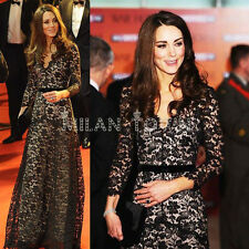 2015 New Princess Kate Style ROYAL Black Nude LACE Long Ball Gown Maxi Dress