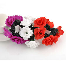 UsefulFlower Bun Garland Floral Head Knot Hair Top Scrunchie Band Elastic Bridal