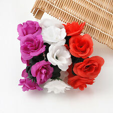 Flower Bun Garland Floral Head Knot Hair Top Smart Scrunchie Band Elastic Bridal