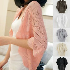 Womens Batwing Crochet Floral Hollow Cardigan Shrug Knit Sweater Coat Top Jumper