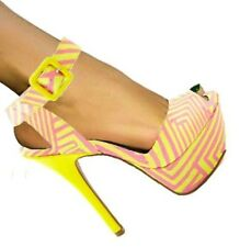 Koy-15 Black Yellow Geometric Peep-Toe Platform Pump Stiletto Heel