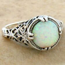 WHITE LAB OPAL ANTIQUE FILIGREE DESIGN .925 STERLING SILVER RING,      #642
