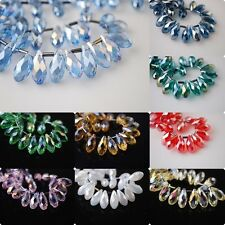 10pcs Teardrop Glass Crystal Spacer Beads Craft Jewelry Findings 8x16mm Charms