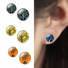 925 Sterling Silver Life Tree Cabochon Ear Stud Earrings Women Jewelry NEW DIY